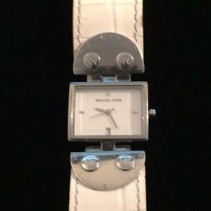 Michael Kors Logo White Strap Silver Dial Watch
